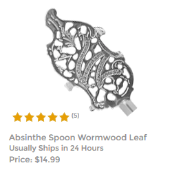 Premium Embossed Wormwood Leaf Spoon For Mixing Absinthe